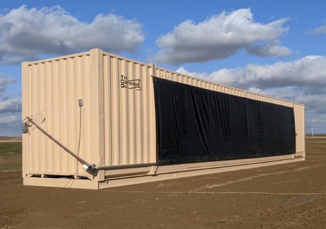 53 ft refurbished container with end wall and side wall roll up doors