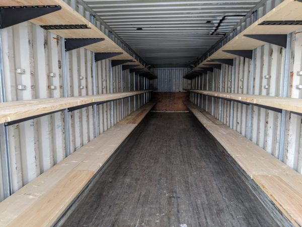 shipping container shelving brackets