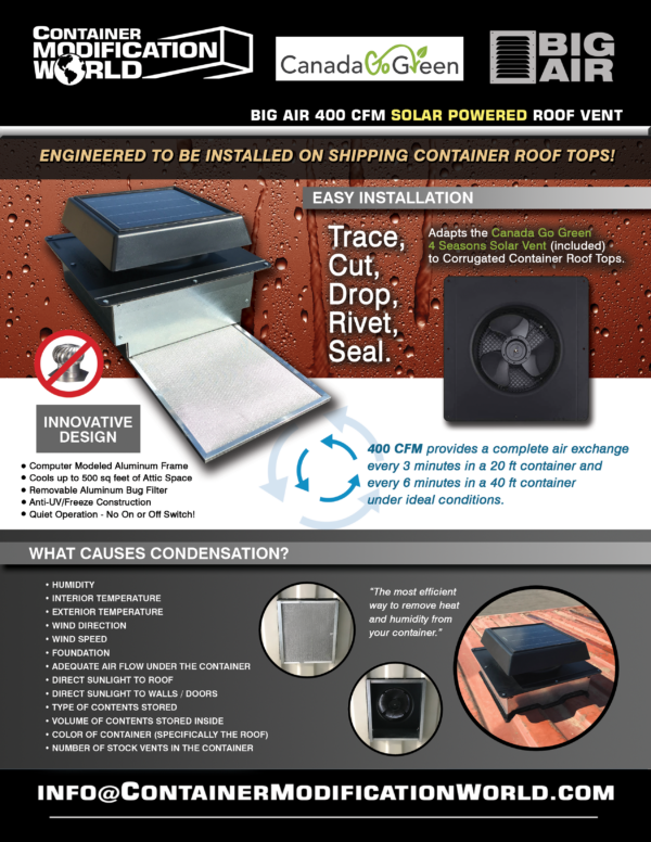 solar powered vent for shipping container